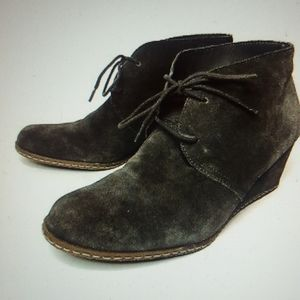 Franco Sarto Gray, Suede Leather, Wedge Booties
